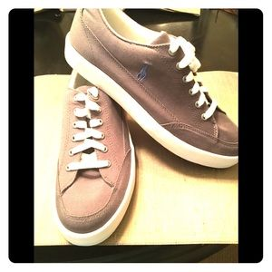 NWOT Ralph Lauren polo grey canvas tennis shoe